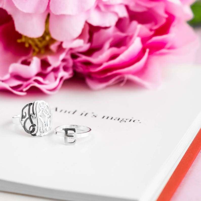 bb86999fb7d80 Script Monogrammed Ring Sterling Silver, Gold, Rose Gold and Solid Gold,  Choose any Initials