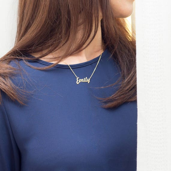 EMILY ANY PERSONALAIZED  SILVER NAME PLATE CHAIN