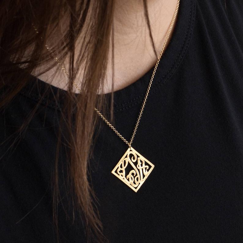 4 Points Monogram Necklace Sterling Silver or Solid Gold Square monogram Monogram Pendant