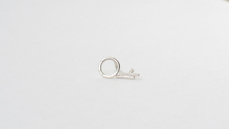 Mini Silver Studs ASYMMETRY  Circle and Stick Earrings  image 0