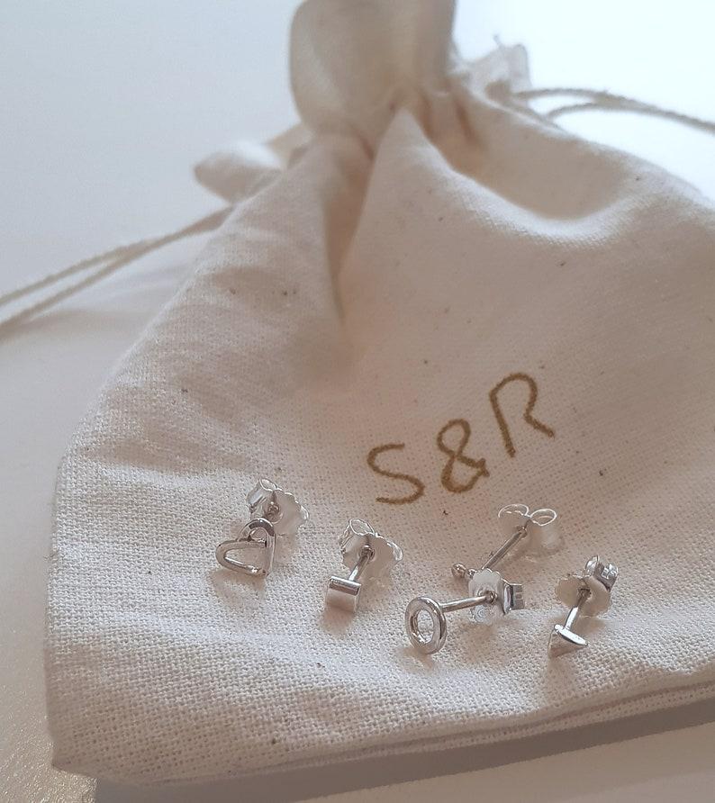 Minimalist Silver Earrings MYNY Piercing Earrings Sterling Silver tiny earrings Geometrical Earrings