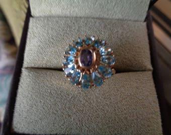 SALE Vintage Blue Topaz and Amethyst Ring 14K Gold
