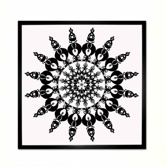 Soleil, Mandala, noir et blanc, sticker géométrique, Design d ...
