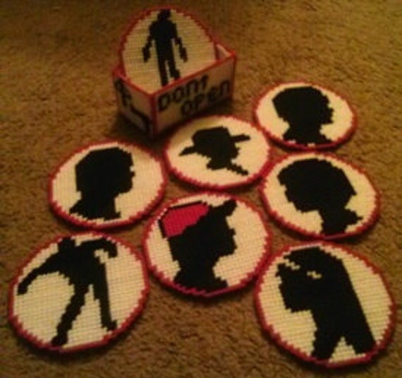 Pixel Art 2 Coasters Handmade Inspired by the walking dead one of a kind set