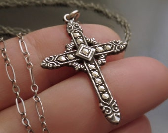 Antique Sterling CROSS Necklace Pendant 24 Inch Paperclip CHAIN Fancy Scrollwork Marcasite Accents Hallmarked USA c.1930's, Gift for Her