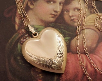 RESERVED Signed Vintage Heart LOCKET 12k Gold Fill Pendant Necklace Long Paperclip Chain
