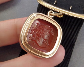 Antique Mourning Jewelry, SIMMONS Watch Chain Ribbon, LARGE Victorian Cameo FOB, Memento Mori 1890's