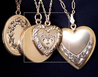 LA MODE Antique Sacred Heart LOCKET 12K Gold Fill Pendant Necklace, Art Nouveau Repousse Design