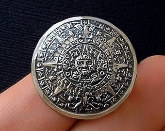 MAYAN Calendar BROOCH, Vintage Mexican STERLING Silver Pin, Hallmarked 925 Mexico Jewelry c.1960s, Gift for Her