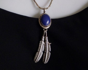 Vintage NATIVE American Indian Jewelry Navajo Solid Sterling Necklace LAPIS Gemstone Feather Leaf Charms Long Chain, Birthday Gift for Her