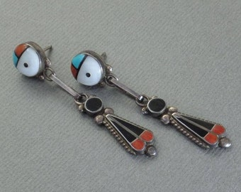 SIGNED Vintage Native American Indian Turquoise EARRINGS Sterling Sunface Dangle Kachinas, Coral Turquoise ZUNI Jewelry, Gift for Her