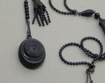 Antique Victorian LOCKET Black Mourning Jewelry Watch CHAIN Tassel, Whitby Jet Gutta Percha Bog Oak Vulcanite, Memorial MEMENTO Mori 1870's