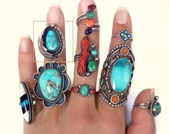830689c9ca4959 Vintage NATIVE American Indian Jewelry Turquoise Navajo RING Sterling  Triple Shank Band, Womens Old PAWN Rings Size 6