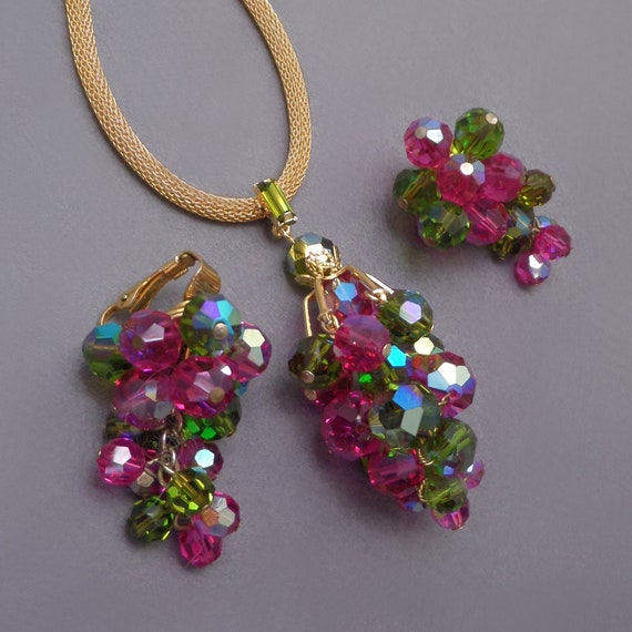 1950s Costume Jewelry Vintage JAPAN Blue Green Crystal Cha Cha Bracelet Earrings Set Glass Bead Demi Parure