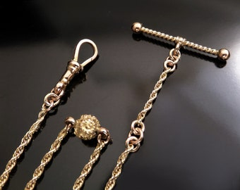 English 9CT GOLD Antique VICTORIAN Watch Chain Gold Rope, Hook & T-Bar c.1890's