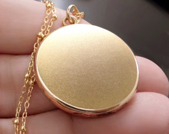 """Antique BLANK Locket Necklace 24"""" CHAIN Edwardian Gold Filled Jewelry SIGNED Bates & Bacon c.1900's"""