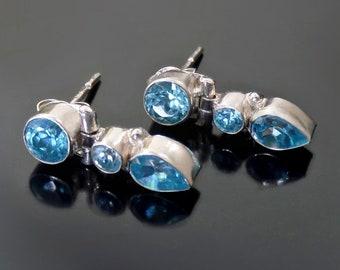 Vintage STERLING Topaz CZ Drop EARRING Studs, Small Hinge Modernist Stud Earrings, Post Backs for Pierced Ears, November Birthday