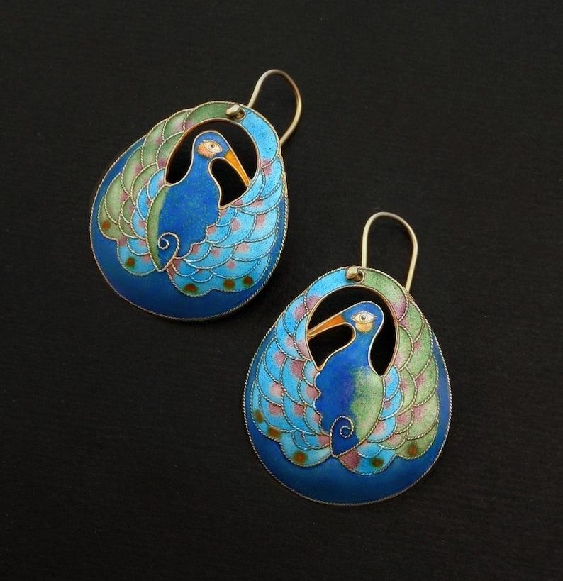 Vintage Early LAUREL BURCH Earrings PEACOCK Bird Blue Enamel image 0