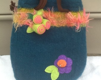Teal Felted Tote Purse