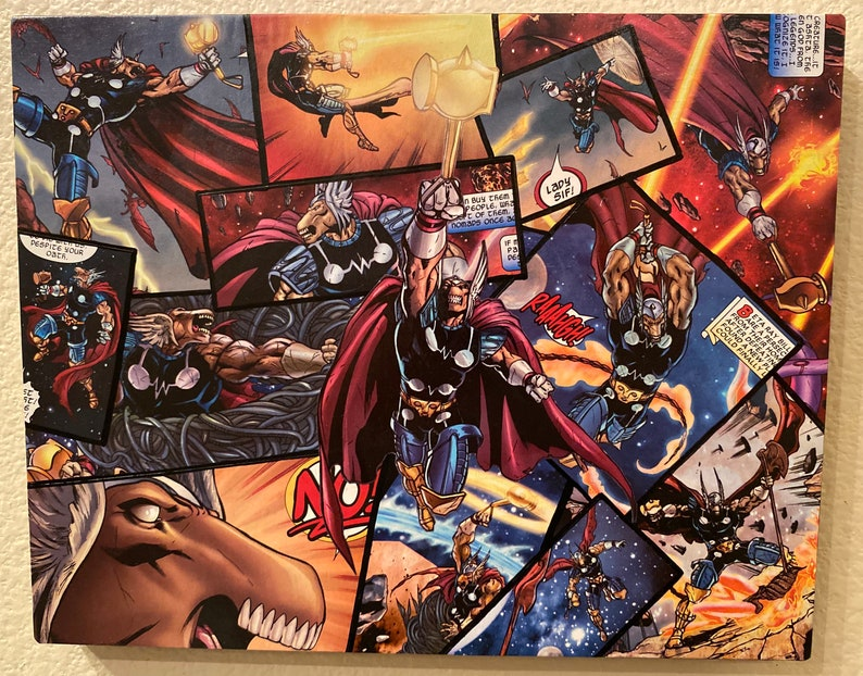 8inX10in Beta Ray Wood Comic Collage