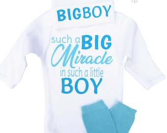 Such a Big Miracle In Such A Little Boy~Newborn Boy~Baby Outfit~Baby Bodysuit~Birthday Outfit~Baby~Baby Boy Tshirt~Photo Prop Baby~Christmas