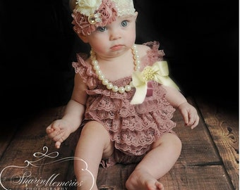 378fb524c536 Dusty Rose Lace Romper~Baby Lace Romper~Lace Romper Newborn~Coming Home  Outfit Newborn Girl~Cake Smash Outfit Girl~1st Birthday Girl