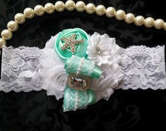 Aqua Headband/Beach Headband/Shabby Chic Headband/Baby Headband/Infant Headband/Newborn Headband/Toddler Headband/Girls Headband/Photo Prop