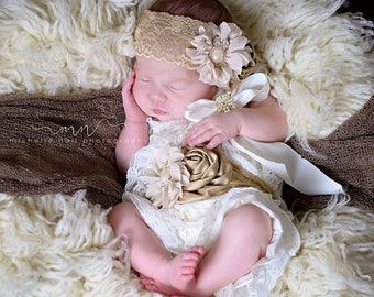 Beige Lace Romper~Baby Lace Romper~Baby Romper~Petti Lace Romper~Romper~Smash Cake Set~First Birthday Outfit~Lace Romper~Petti Romper~