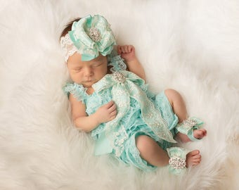 Aqua Lace Romper~Easter Outfit~Easter Dress~Easter Lace Romper~Lace Romper~Lace Baby Romper~Flower Girl~Coming Home Outfit Newborn Girl