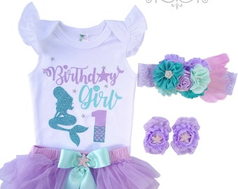 Little Mermaid~First Birthday Outfit~Birthday Baby~Birthday Girl~Birthday Tutu Outfit~Birthday Girl Clothing~Baby Birthday Outfits Girl