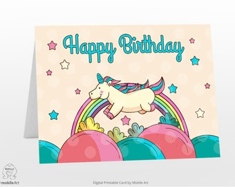 Unicorn Printables Printable Birthday Cards Instant Download Digital Template Card CardHappy Girl