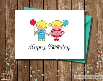 twins birthday cardsBirthday Card for Boys twinsInstant