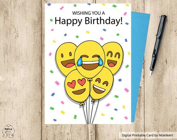 Emoji Printables Printable Birthday Cards Instant Download