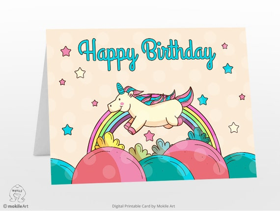 Stupendous Printable Birthday Cards Unicorn Card Digital Template Etsy Funny Birthday Cards Online Overcheapnameinfo
