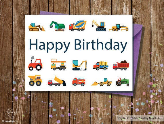 Printable Birthday Cardsbirthday Card For BoyBuldozer
