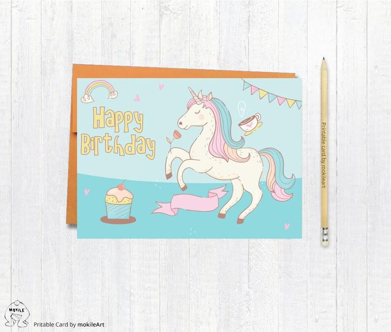 Unicorn Printableprintable Birthday Cards Instant Download