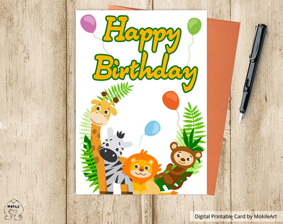 Animals Printable Birthday Cards PrintablesInstant Download Digital TemplateIncludes Envelope A2HAPPY BIRTHDAY CARD