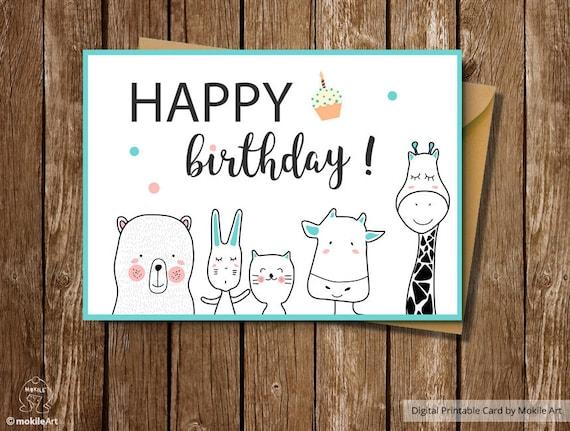 Printable Birthday Cardsbirthday Card For Boyanimals