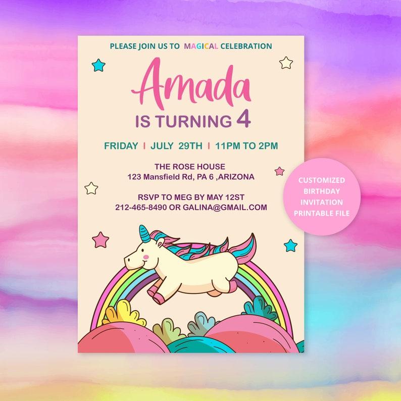 printable birthday cards unicorn card digital template  etsy