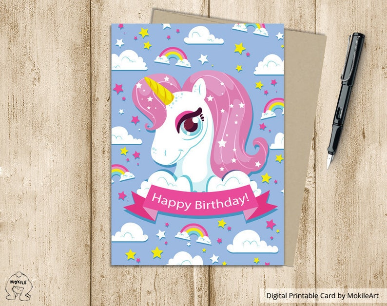 Unicorn Birthday Card Cute Rainbow