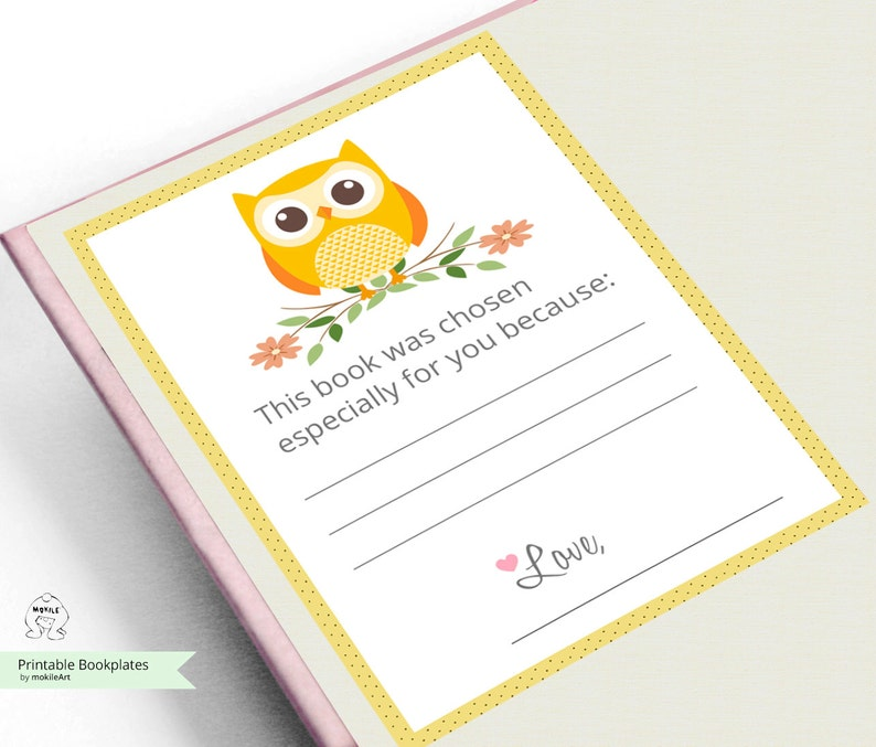 Childrens Bookplate,Book-themed Printable Bookplates Baby Shower Bookplate-Book Plates-INSTANT DOWNLOAD-Bookplates-owl Bookplates