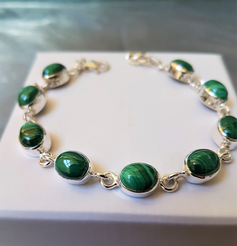 green malachite in silver bracelet with malachite Malachite bracelet