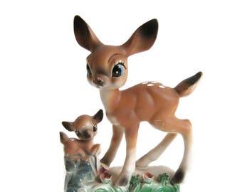 Vintage Deer Figurines, Vintage Fawn Deer Statue, Woodland Decor, Ceramic Deer