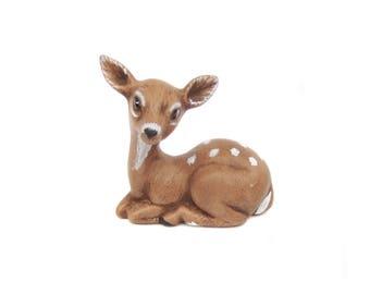 Ceramic Fawn Figurine, Small Deer Figurine, Vintage Deer, Woodland Decor, Deer Figure, Christmas Decoration