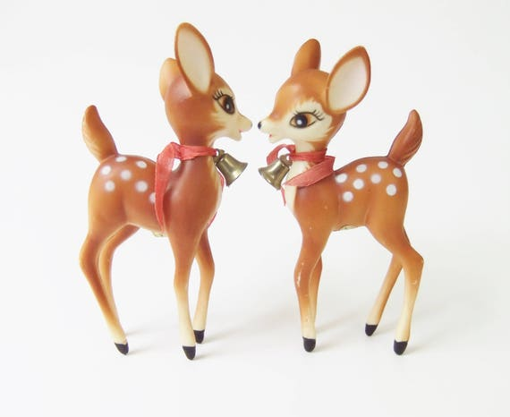 Plastic Deer Figurines, Vintage Reindeer Figurines, Christmas Decor, Retro  Deer, Deer Fawn Figurine, Kitsch Christmas Deer