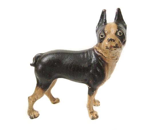 Boston Terrier Bulldog Statue Heavy Antique Cast Iron Door Etsy