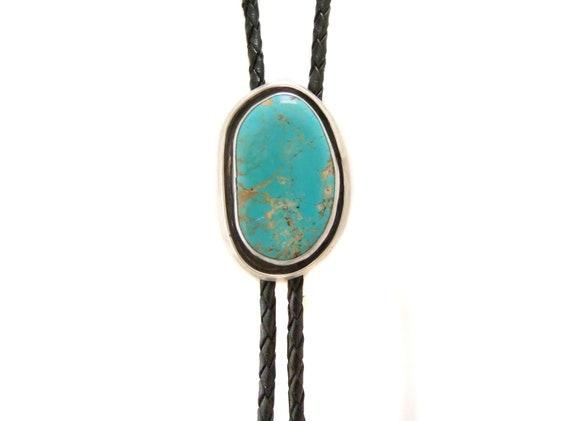 Turquoise Bolo Tie Vintage, Stamped S E Lee, Vinta