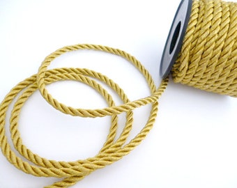 Golden Braided Rayon Cord_ PP064524707/28_Braided Cords _ golden of 5 mm_ bobbin 8 meters / 26,24 ft