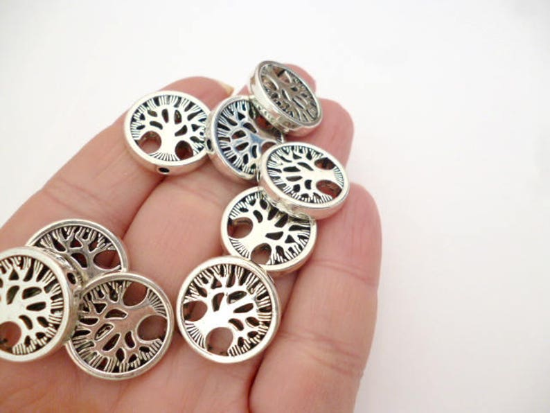 Silver Tone Round Flat Metal beads/_ PP57444586624/_Round Tree beads of 17x3 mm /_ hole 1,8 mm /_ pack 5 pcs
