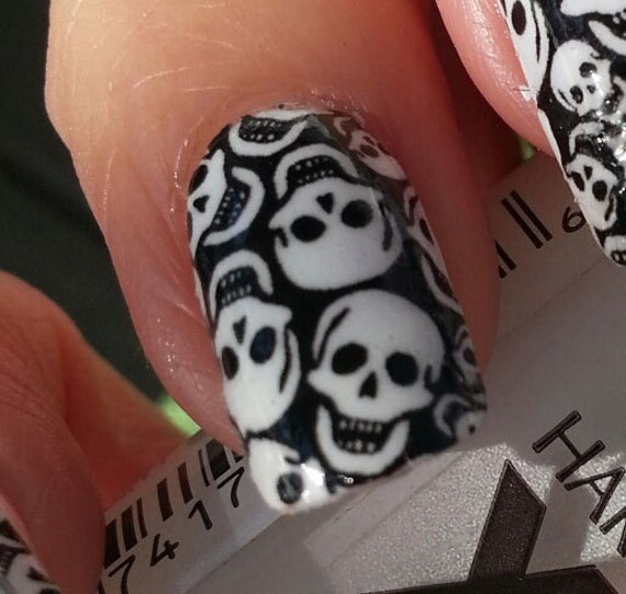 Tiny Skulls Nail Art Decals Skt Full Skull Nail Wrap Day Etsy